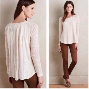Anthropologie One September Feather Lace Sweater